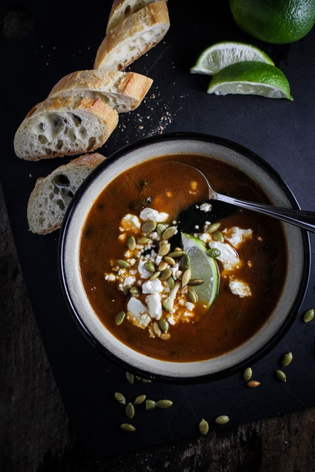 Roasted Poblano and Black Bean Soup (omit feta for vegan)