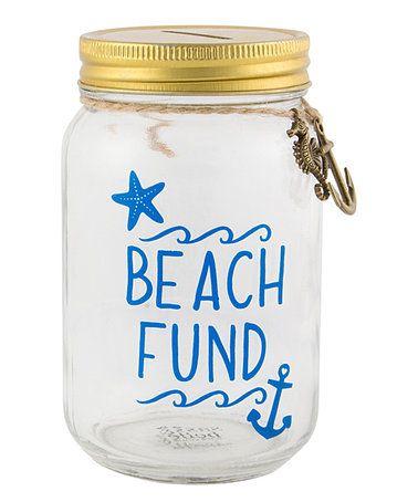Look what I found on #zulily! 'Beach Fund' Mason Jar Money Bank #zulilyfinds