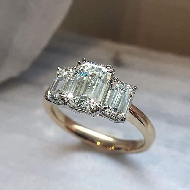 "7,217 Likes, 128 Comments - GEM HUNT (@gem_hunt) on Instagram: ""Crushing on @honeyjewelryco today and this three stone emerald cut ring ✔️"""