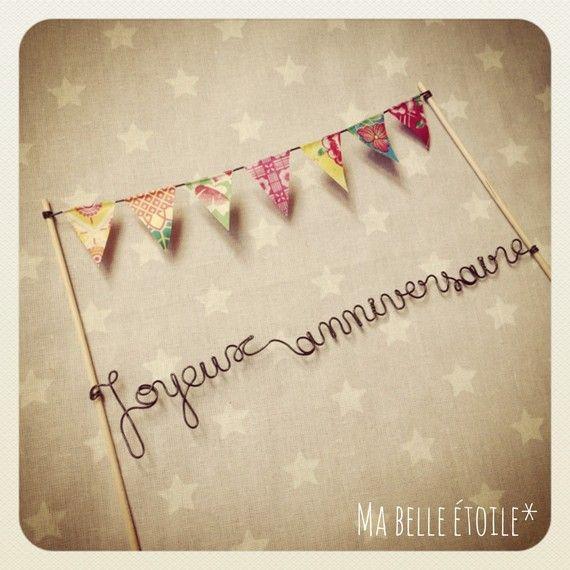"""Décoration pour gâteau """"Joyeux anniversaire"""" fanions ***"""