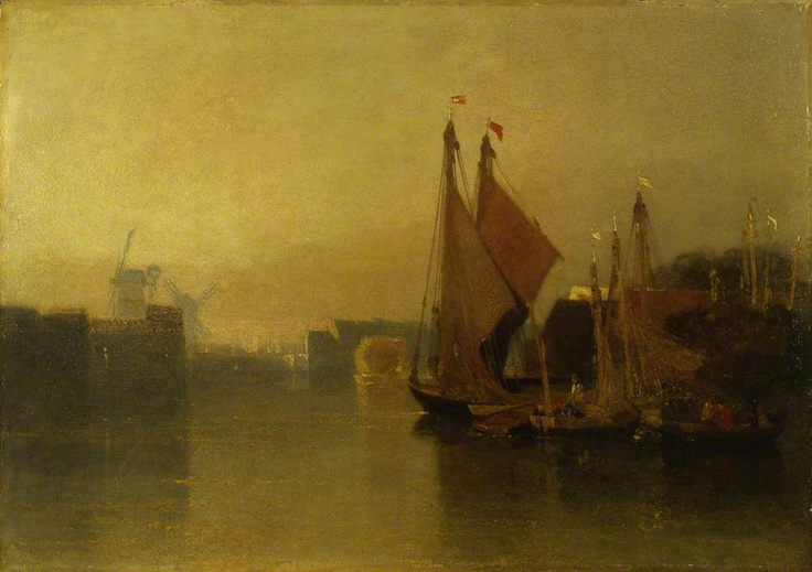 1823-25c View from Yarmouth Bridge, Norfolk, Looking towards Breydon, Just after Sunset   oil on millboard