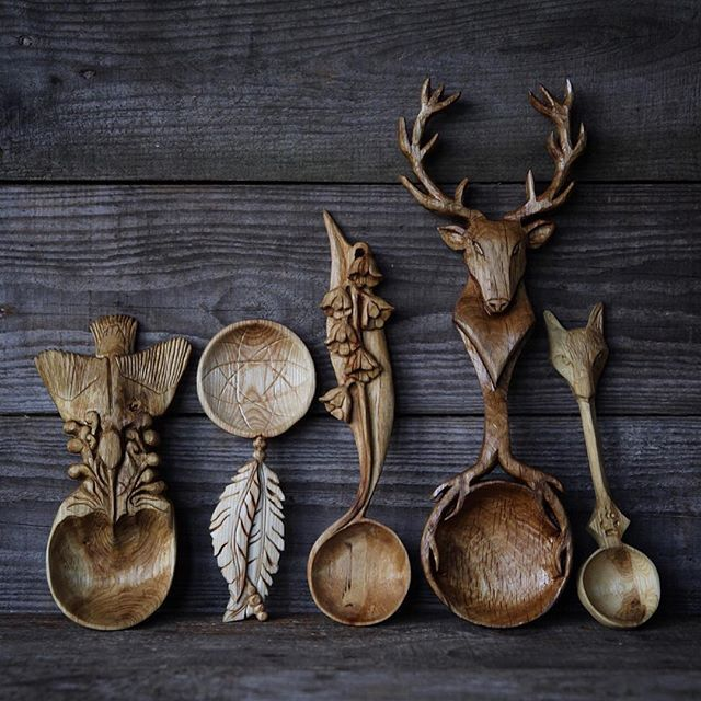 tara-58:  norcal15:  voiceofnature:  Amazing woodcarved spoons by Giles Newman. He resides in northern Wales and makes individually designed and hand crafted green wood spoons carved using only traditional hand tools. Find his work on instagram and etsy.   Gahhh, I must have these,  gorgeous!   These are beautiful and so unique !