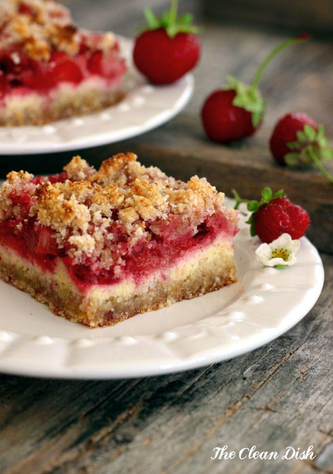 Strawberry Sour Cream Crumb Bars {grain free & gluten free, refined sugar free}
