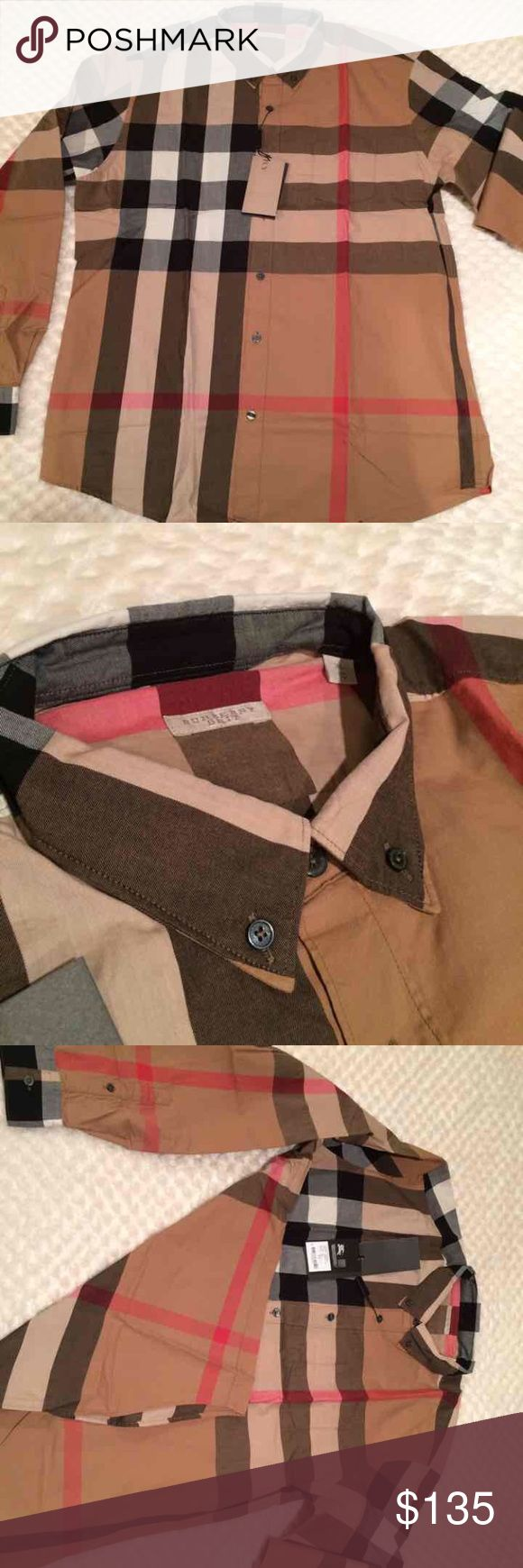 New burberry shirt for men M New with tags burberry shirt for men size medium  100% cotton beige color Burberry Shirts Casual Button Down Shirts