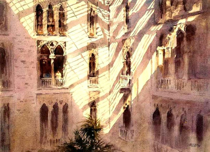 "Robert Wade - ""The Atrium, Isabella Stewart Gardner Museum, Boston"" 20""x 30"" 1994"