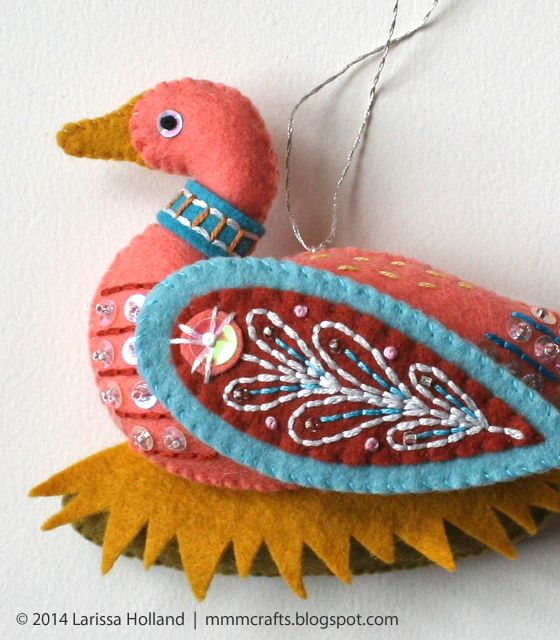 mmmcrafts: handmade gifts 2014: gold ring and goose a-laying ornaments for robyn