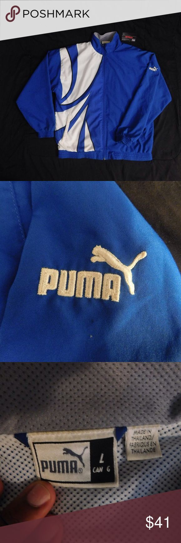 Vintage Puma Jacket USED Vintage Puma Royal Blue White Full Zip Windbreaker Jacket | MENS Size Large | Good condition, minor stains as pictured  --------------------------------------------------   For Discounts Follow Me on Instagram, Facebook and Twitter @407kickz !    KEYWORDS/TAGS: ultra boost , Tommy Hilfiger , Polo Sport , Nautica , NMD , supreme , kith , bred , adidas , banned , french blue , stussy , Maestro , vintage , kaws , solefly , trophy room , box logo  , rare , nike air…