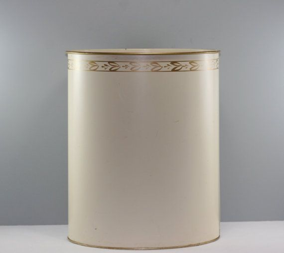 Mid-Century Hand-Painted Trash Can, Waste Basket - Ransburg - Cream and Gold on Etsy, $21.00