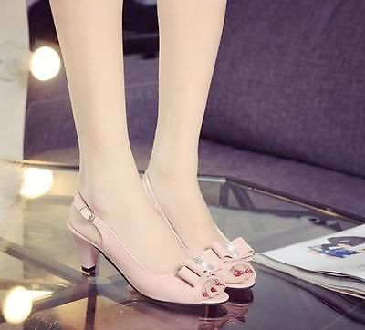 Hot Sale Women Shoes Medium Heels Strap Buckle Slingback Patent Leather Open Toe