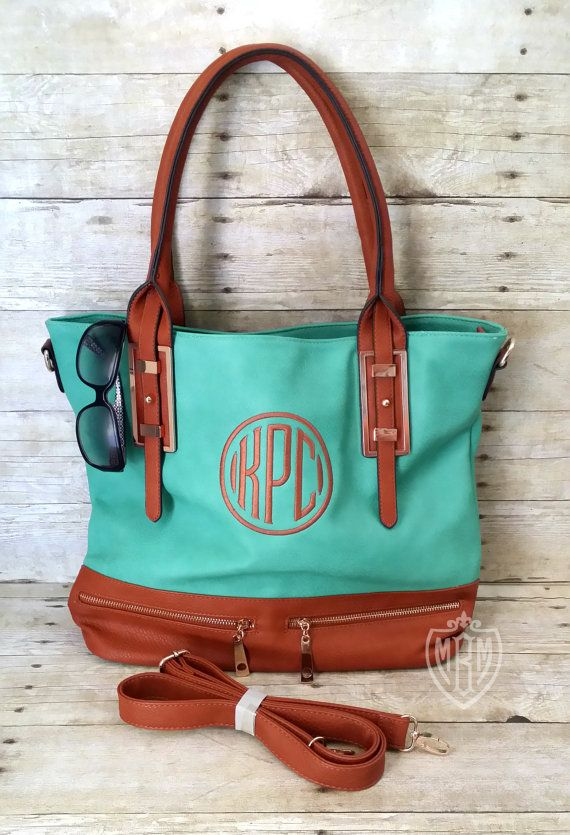 Monogram Purse  Teal Purse  Dark Mint Satchel by MaBrownMercantile