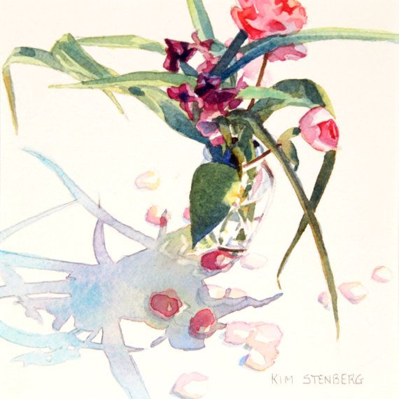 "Peony Painting, Original Floral Watercolor Painting, ""Peony Season"" by Kim Stenberg, Impressionistic Art, Matted, Ready for a 10 x 10"" Frame on Etsy, $75.00"