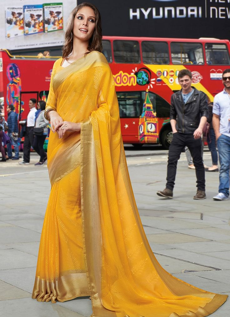 Demure Yellow Color Chiffon Saree