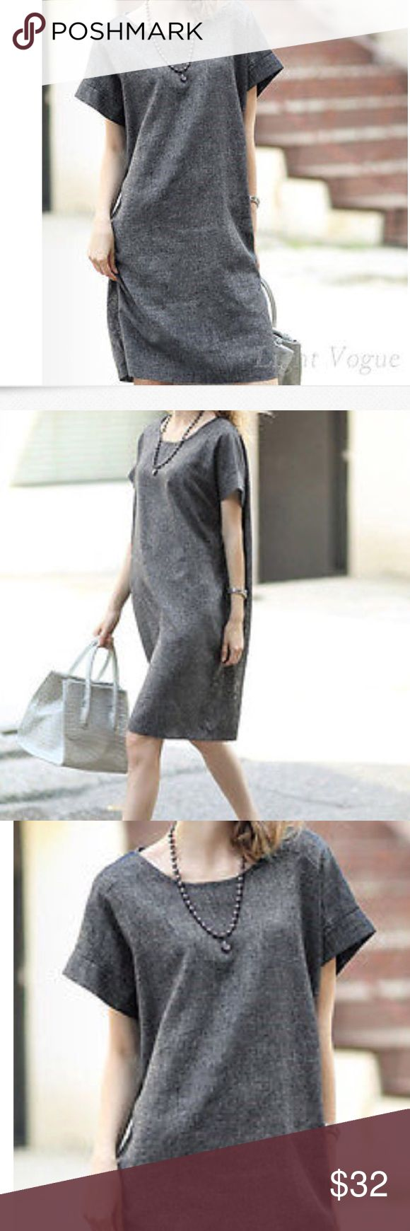"""New LOOSE COTTON LINEN TUNIC SHIRT DRESS New with out tag This gray shirt dress is totally chic. Cap sleeves gives it a smart look. Good for party or office. Cotton linen with 20% polyester. Pit to pit 19"""" 34"""" length  Two side pockets. FS Dresses"""