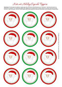 Santa Claus Cupcake Toppers