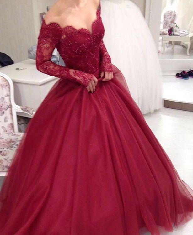 Long Sleeves Ball Gown Prom Dresses ,Burgundy Lace Prom Dresses,Sexy Wine Red Evening Prom Gowns,Quinceanera Dresses,Communication Dress,Custom Made High Quality Prom Dress