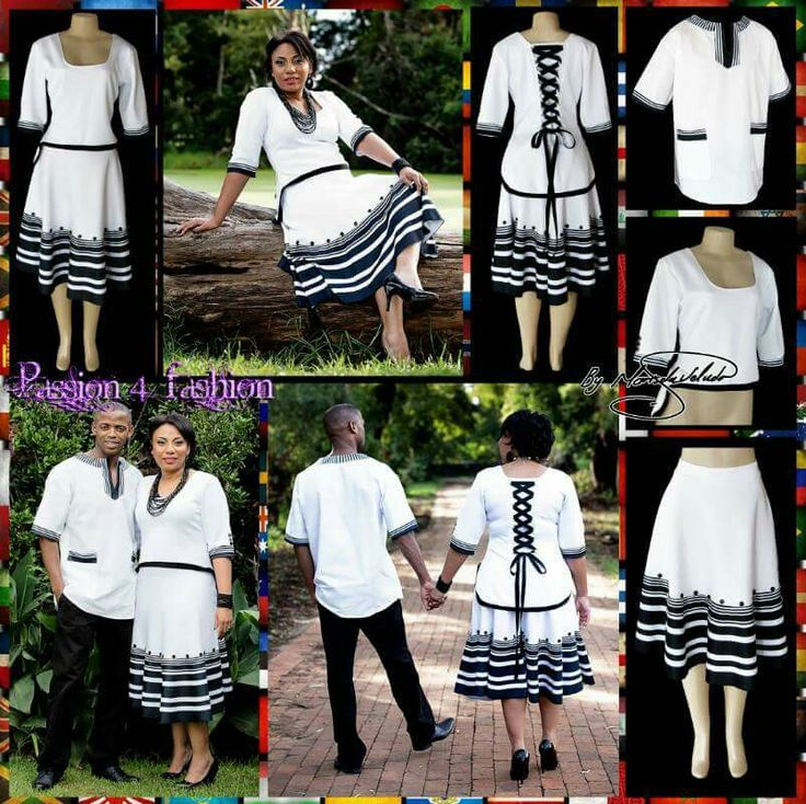 Black and white Xhosa 2 piece modern traditional dress. Top in a high-low design with elbow length sleeves and a lace up back detail. Men's matching shirt. #mariselaveludo #fashion #traditionalwear #passion4fashion #Xhosadress #blackandwhitedress #moderntraditionalwear #2piecexhosadress #xhosashirt