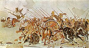 Battle of Issus  Wars of Alexander the Great 333 B Result	Hellenic victory. Hellenic League	Achaemenid Empire Greek mercenaries Commanders and leaders Alexander the Great-Darius iii Strength 40,850 in total: 13,000 peltasts,[1] 22,000 heavy infantry,[2] 5,850 cavalry[2]	50-100,000 (modern sources) 250,000—600,000 (ancient sources) (See below) Casualties and losses 7,000[3]	~20,000