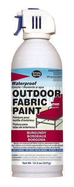 Simply Spray Outdoor Fabric Paint is a non-toxic, non-flammable aerosol paint for use on all absorbent and non-absorbent materials. Once applied, the paint absorbs in the fabrics or dries on top of ot                                                                                                                                                      More
