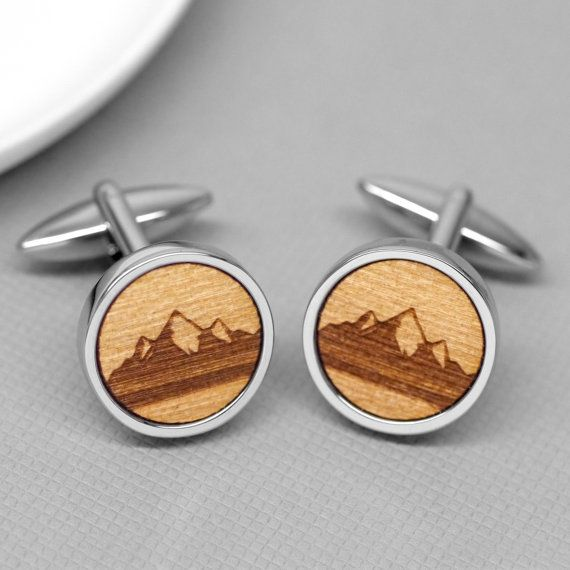 Wooden Mountain Range Cufflinks, Sterling Silver Cufflinks, Mountains Cuff Links, Wood Cufflinks, Men's Accessories