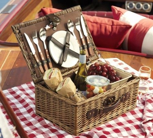 """traditional baskets by Pottery Barn / I own sooo many coolers and different sizes and styles. I would really love to have a """"old fashioned' picnic basket."""