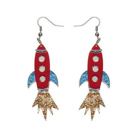 """Erstwilder Limtied Edition Blast Off! Earrings. """"To boldly go where only a select few have gone before. The view is quite amazing from this red rocket's glare."""""""