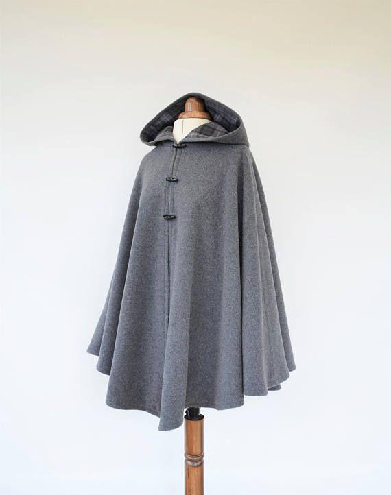 Grey Black Wool Tartan Lined Cape Outlander Inspire Manteau
