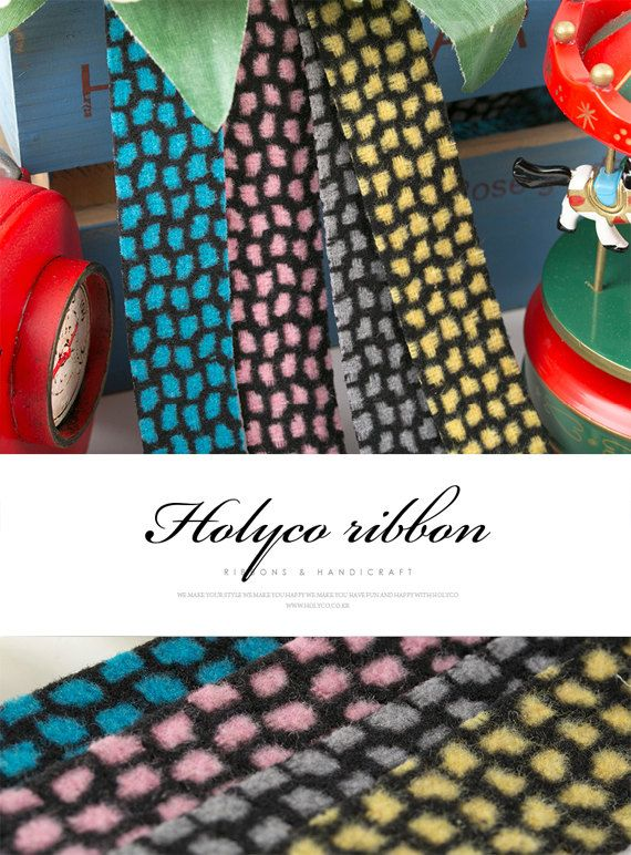 Net pattern Wool Fabric ribbon 25mm50mm4 Colors Ultra by HOLYCO