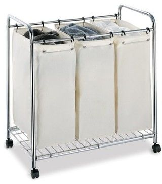 Laundry Sorter, 3-Section Heavy Duty Canvas transitional-hampers - $57.00 from The Organizing Store