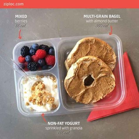 Have a handful of berries and a cup of Greek yogurt with your whole wheat bagel and almond butter.