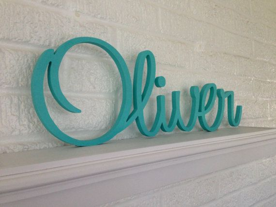 wooden letters personalized name script font beautifully connected letters your custom name and color i could put one in each kids rooms