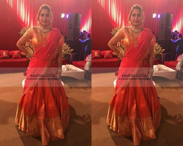 Jwala Gutta Red Half Saree - Saree Blouse Patterns