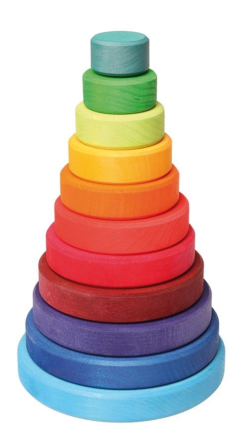 Grimm's - Conical Rainbow Stacking Tower  I can't get enough of Grimms gorgeous rainbows!!! #EntropyWishList #Pintowin
