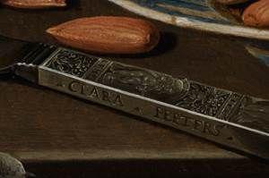 """Clara Peeters, detail van """"Stilleven met kazen, amandelen en krakelingen"""""""