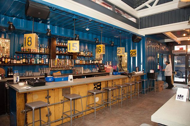 Restaurant. Shipping containers and a deep color of blue are always a good idea!