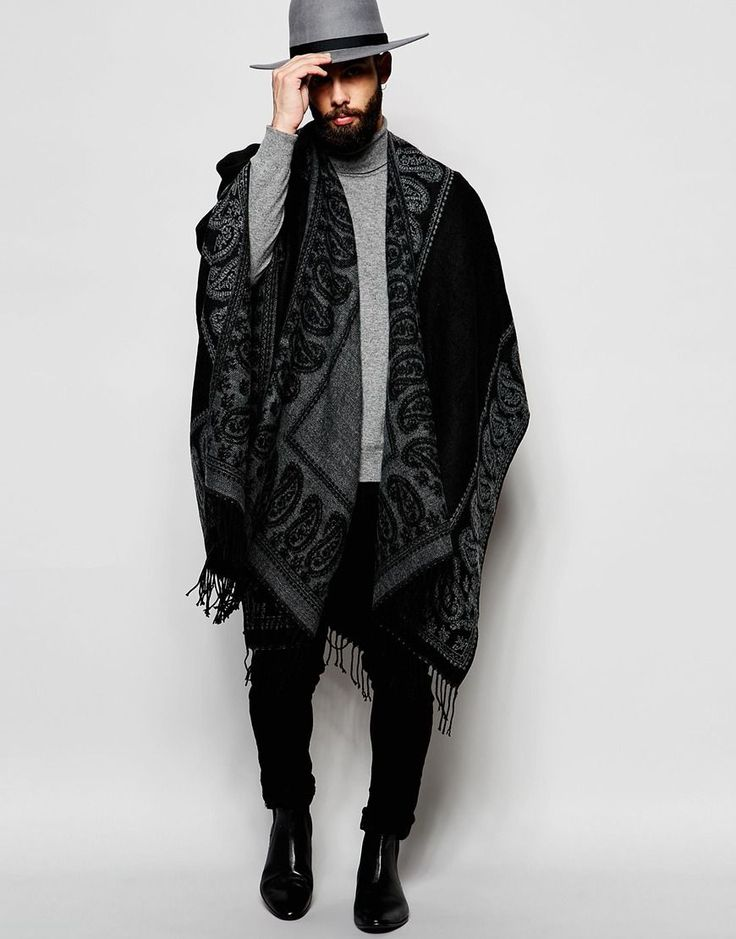ASOS Black Cape With Grey Paisley Border