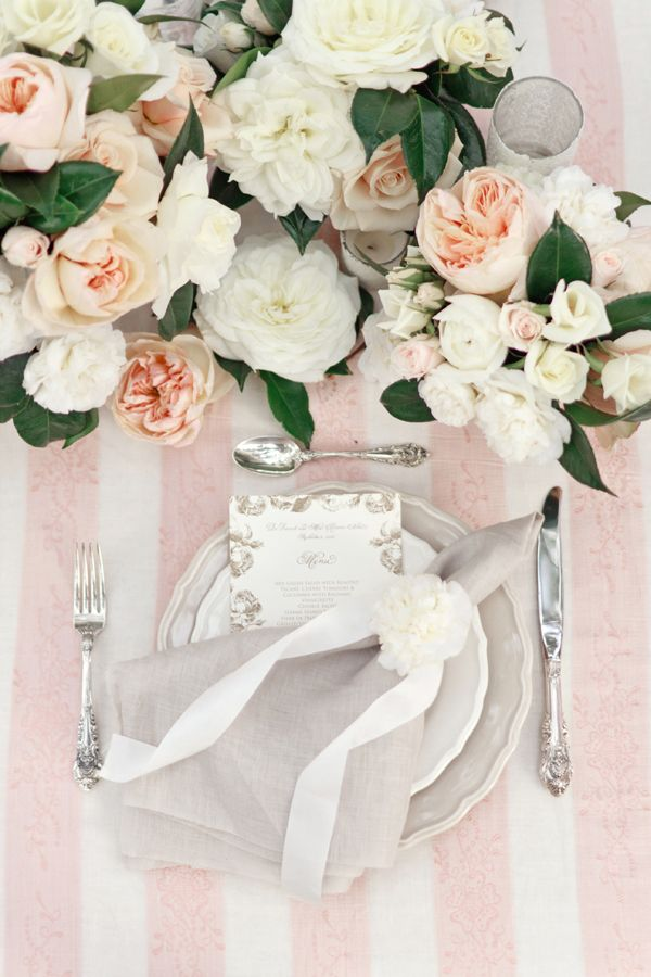 Tablescape- Great mix of soft pinks and whites, delicate floral mix, and soft texture. Great for a Bridal shower, or Garden Party. -MMA