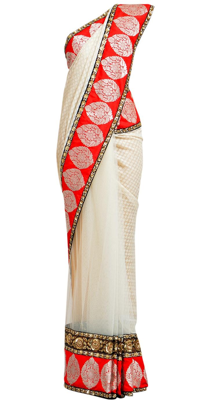 SABYASACHI  Cotton Ivory sari half net half dhakai with paan booties