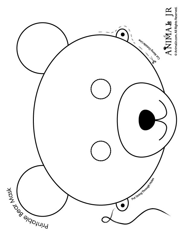 Printable Animal Masks: Bear Mask Bear Mask to Print and Color – Craft Jr.