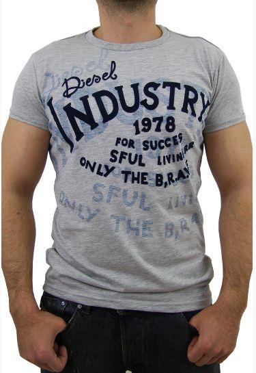 DIESEL tricou gri Tricou Diesel de culoare gri , cu imprimeu texturat MMSSCLOTHING.RO Similare