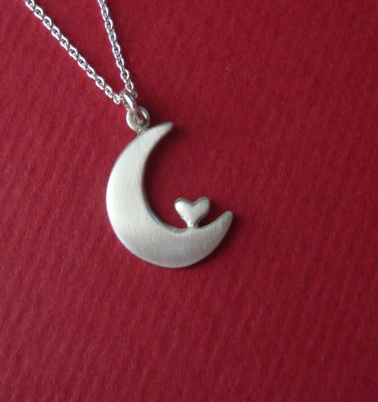I Love You to the Moon and Back  Necklace Heart Valentine jewelry sterling silver for her Kids Teen gift cute charm necklace mom girl friend. $32.00, via Etsy.