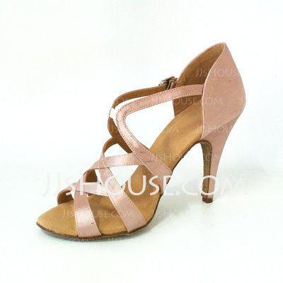 Sapatos de dança - $33.99 - cetim Saltos Sandálias Latino Sapatos de dança (053026459) http://jjshouse.com/pt/Cetim-Saltos-Sandalias-Latino-Sapatos-De-Danca-053026459-g26459