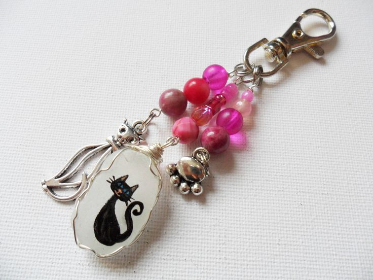 Pink and sparkle black cat sea glass and bead hand painted bag charm - Keyring by ShePaintsSeaglass on Etsy