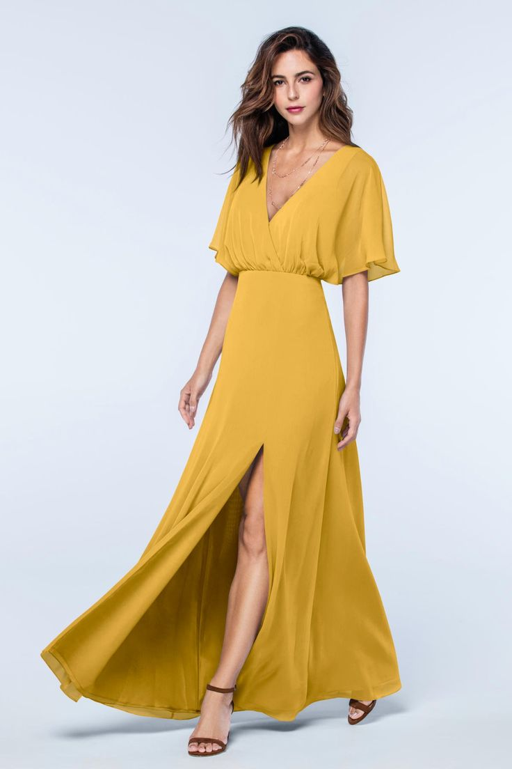 Best 25 mustard bridesmaid dress colors ideas on pinterest description watters lottie full length bridesmaid dress draped v neckline with dolman flutter sleeves low back with delicate tie at the top skirt is fitted ombrellifo Gallery