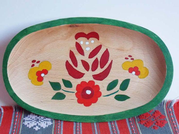 Farfurie ovala lemn Romanian Pattern