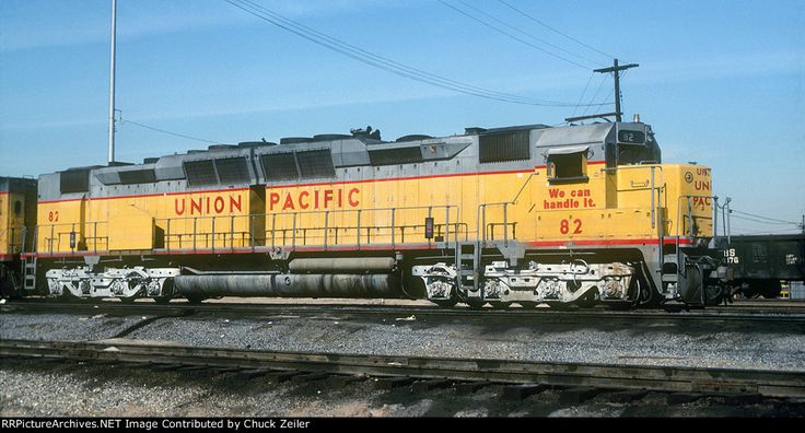 UP DD35A 82 Description: Union Pacific Railroad DD35A 82 at Los Angeles, California on January 25, 1978, Kodachrome by Joseph R. Quinn, Chuck Zeiler collection. Number 82 was completed in June 1965 (c/n 29996) on EMD Order 7797, retired in October 1979 and sold for scrap. It was built using reconditioned GE 752 traction motors (with 74:18 gear ratio) from trade-in Alco FA and FB units. EMD used the designation 752E20A for these reconditioned traction motors. When EMD designed the cabless…