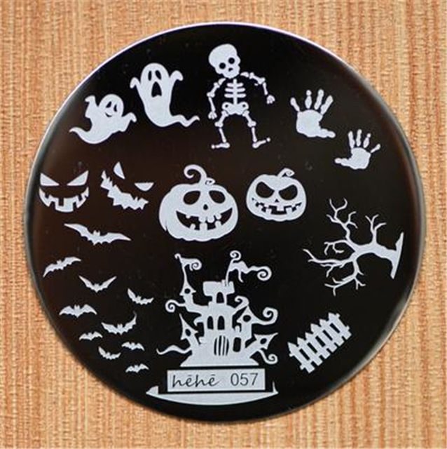 Halloween disegno rotonda in acciaio inossidabile nail piastre hehe60 serie nail art immagine konad stampa stamp stamping manicure template