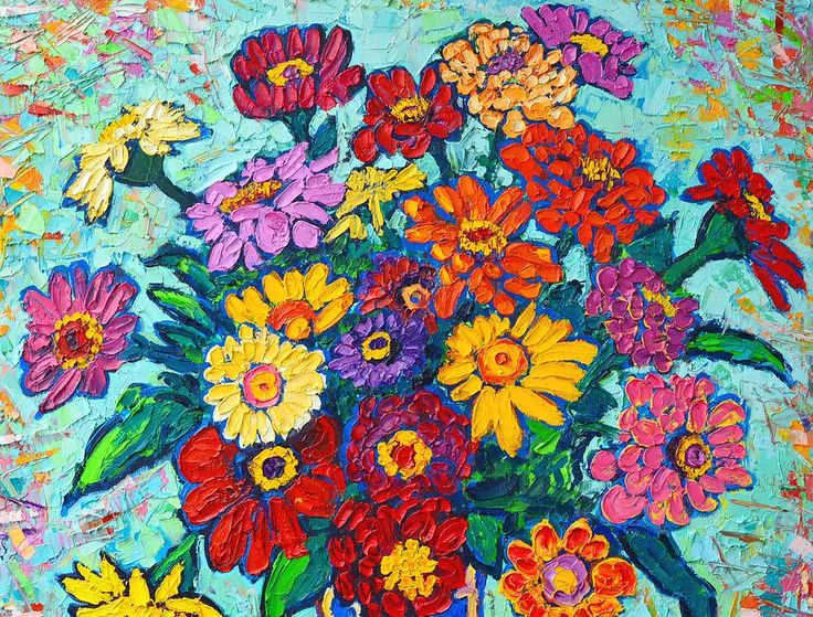 Flowers Painting - Colorful Zinnias Bouquet Closeup by Ana Maria Edulescu