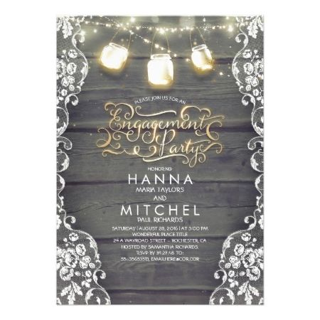 Rustic Wood Lace Mason Jar Lights Engagement Party Card - click to get yours right now!