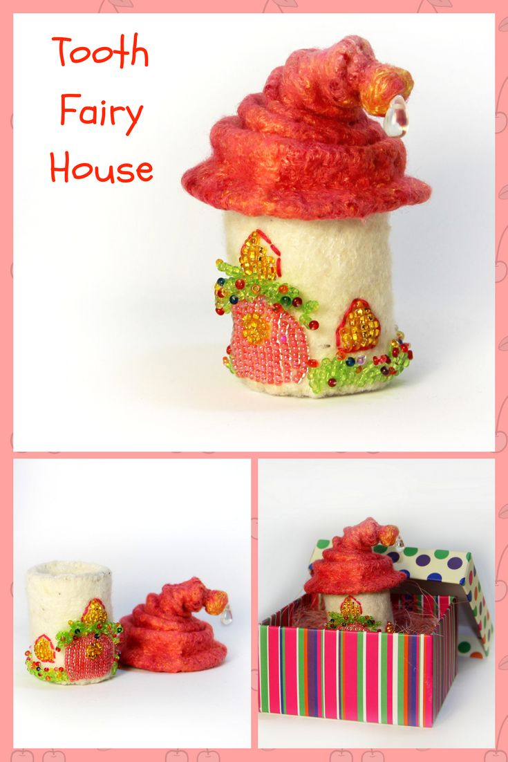 In this little fairy house lives the Tooth Fairy. Let your child put his tooth into this house and at night the Tooth Fairy will bring him money or a small gift for the tooth. Depending, of course, on the agreement that parents will make with the Tooth Fairy!  The height of the fairy house is 3,5 inches (9cm). #fairy  #fairyhouse #toothfairy