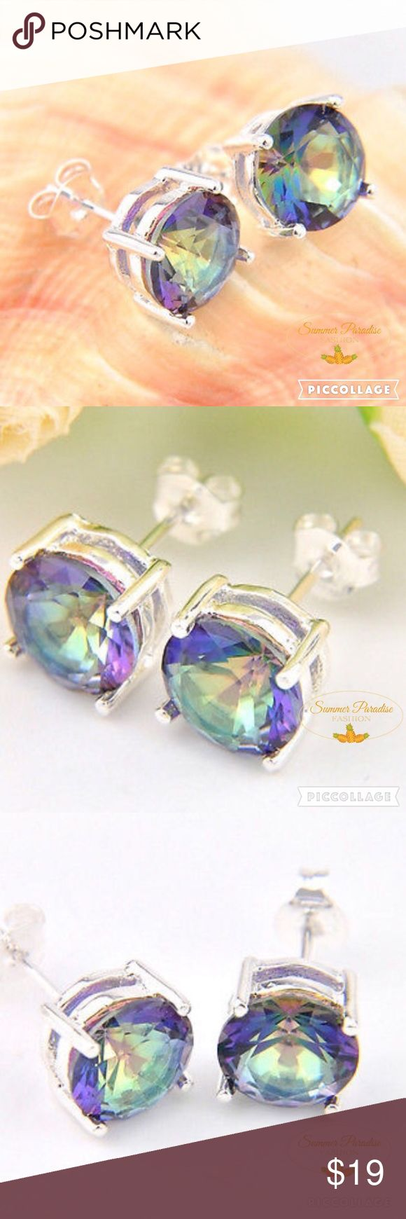 🎉BOGO 50% SALE💠NWT 18k Mystic Topaz Earrings Vibrant 9mm 18k white gold mystic topaz stud earrings!                                                                       💠BOGO 50% OFF! Buy 1 item and get 2nd item of equal or less price at 50% OFF!                    💠Ask for a BOGO 50 bundle for your selections!                                                   💠FREE GIFT with purchases over $10!         TAGS: Stud earrings, white gold earrings, Topaz earrings, mystic topaz, rainbow…